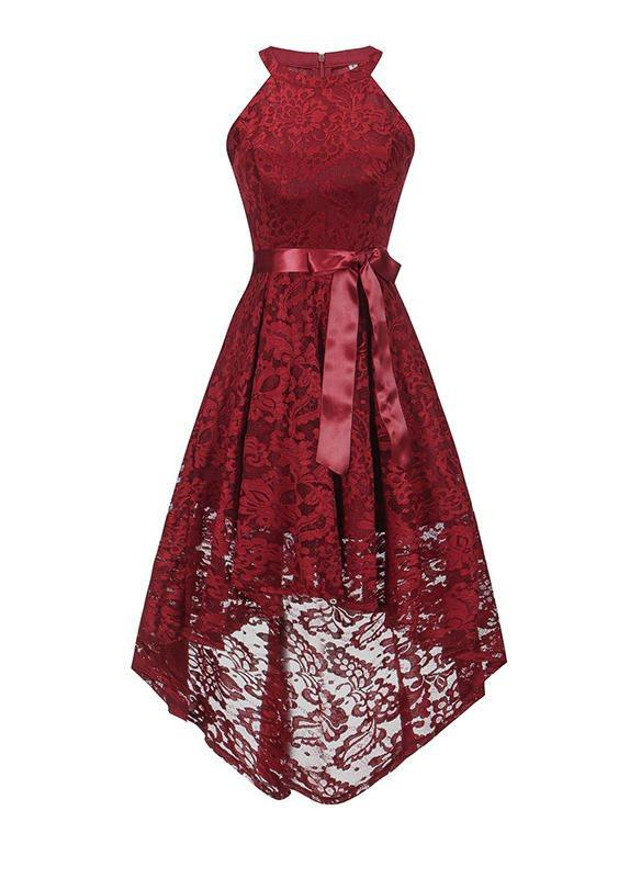 Red wine dantel lace dress