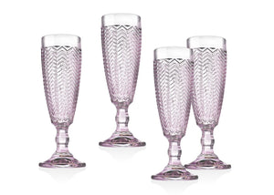 Godinger Twill Set of 4 Pink Flutes
