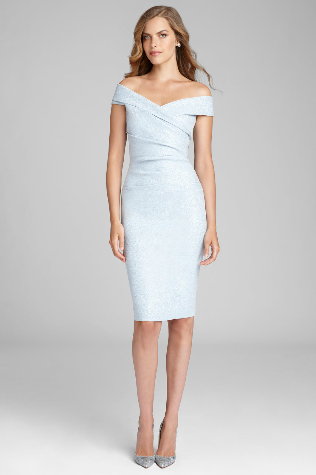 Stretch Metallic Ruched Cocktail Dress
