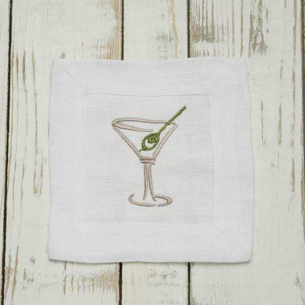 Crown Linen Designs Martini Embroidered Linen Cocktail Napkin Set