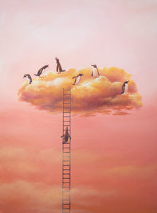 "Cloud Series - Penguins 36""x48"" - Original"