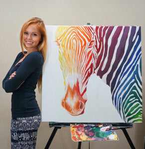 "Rainbow Zebra 30"" x 30"" - original"