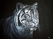 Load image into Gallery viewer, Animal Series- Tiger - White on Black
