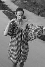 The Short Drawstring Dress - Gingham