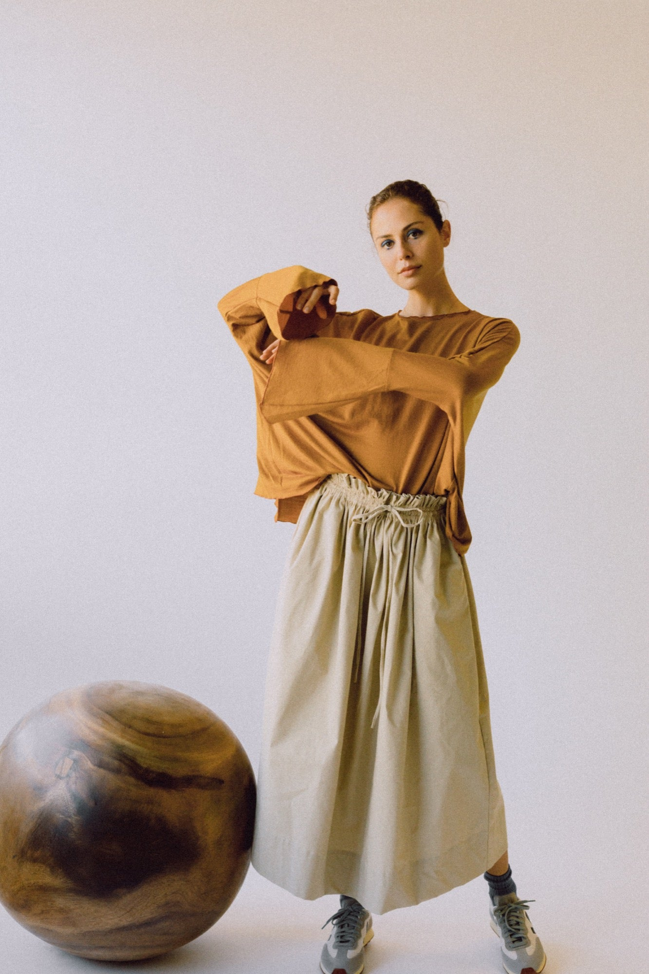 The Drawstring Skirt - Beige