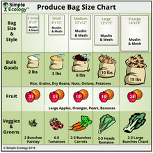 Load image into Gallery viewer, Muslin Organic Reusable Produce Bag Sizes