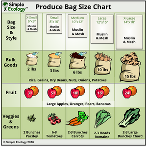 Muslin Organic Reusable Produce Bag Sizes