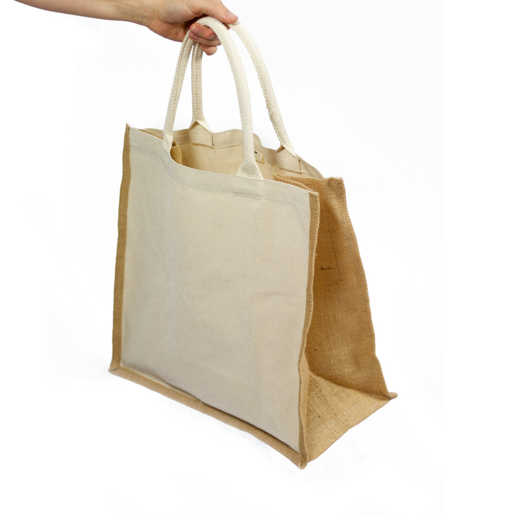 Organic Cotton and Jute Reusable Canvas Tote | Well Earth Goods