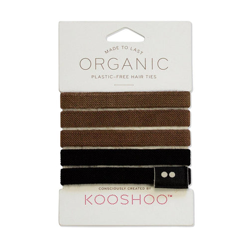 Zero Waste, Plastic Free Hair Ties, Black and Brown | Well Earth Goods