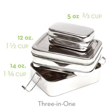 Load image into Gallery viewer, No Plastic Three Piece Stainless Steel Lunch Box | Well Earth Goods