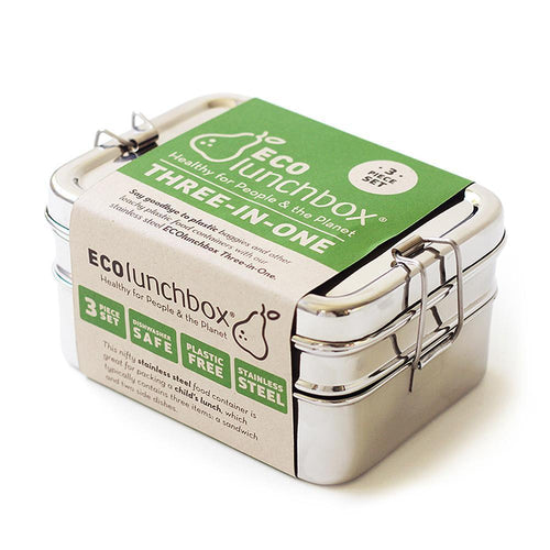 No Plastic Three Piece Stainless Steel Lunch Box | Well Earth Goods