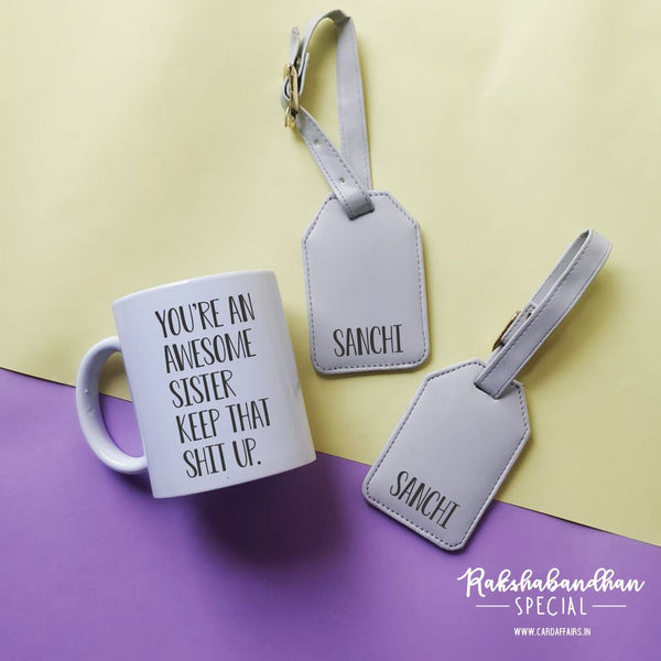 Personalised Mug and Tags - For Sister