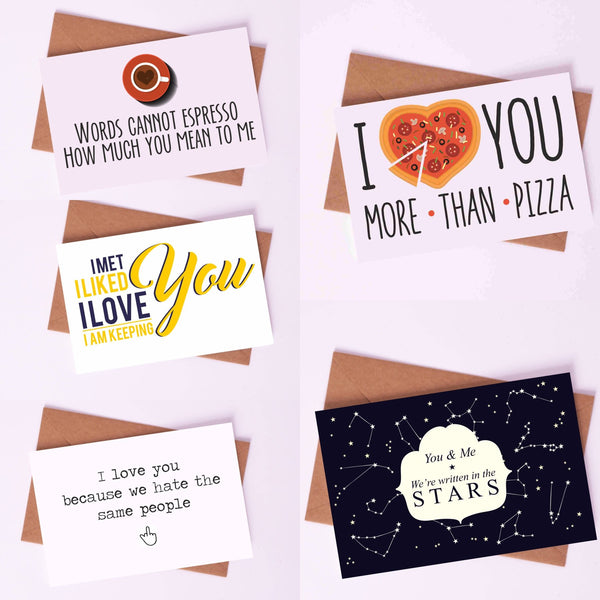 "Couple Love Cards By Card Affairs - A Set of ""Espresso, Pizza & Stars"" Love Card"