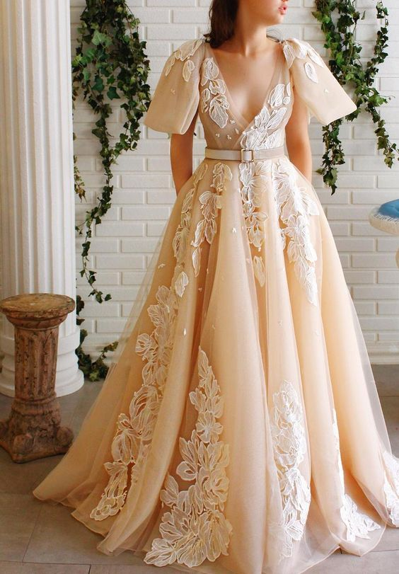 A-line prom dress v-neck ball gown dress appliques evening dress long party dress