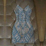 Silver And Turquoise Crystal ,Beaded Homecoming Dresses ,Short , Mini Dresses ,Applique,Evening Gowns
