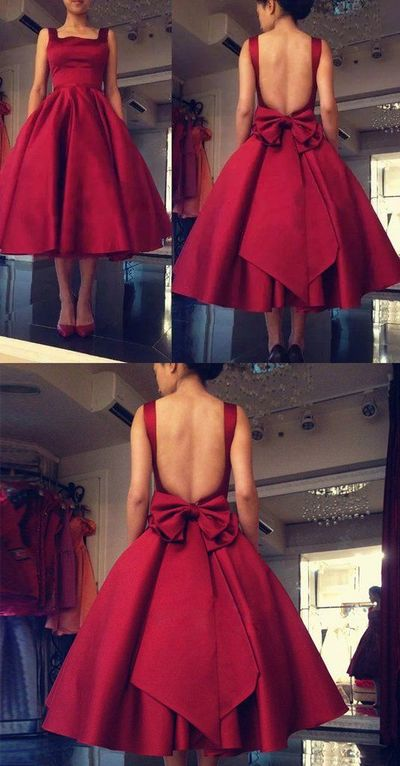 Tea Length Prom Dresses, Spaghetti, Backless, Burgundy Red, Draped Short Women ,Plus Size ,Formal Occasion Party Dress, new fashion ,Prom Dresses