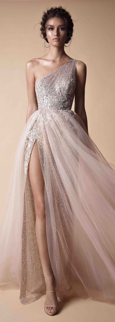 one shoulder prom dress sexy prom dress ,tulle wedding dress charming long evening dress high slit charming party dress