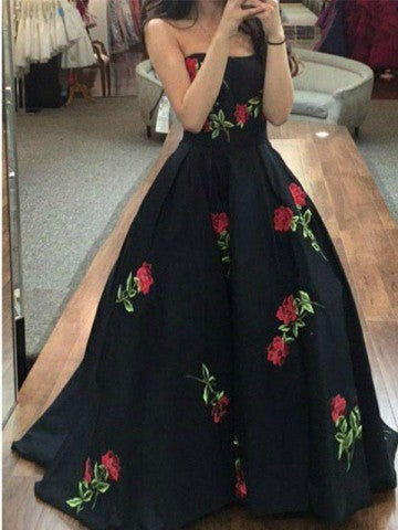 black party dress embroidered evening dress strapless prom dress