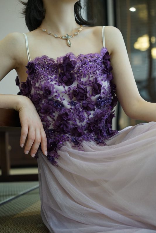 Tulle elegant beaded evening dress beaded purple prom dress
