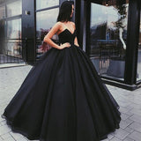 Charming Black Prom Dresses,Sweetheart Evening Gown,Sleeveless Floor Length Party Dresses