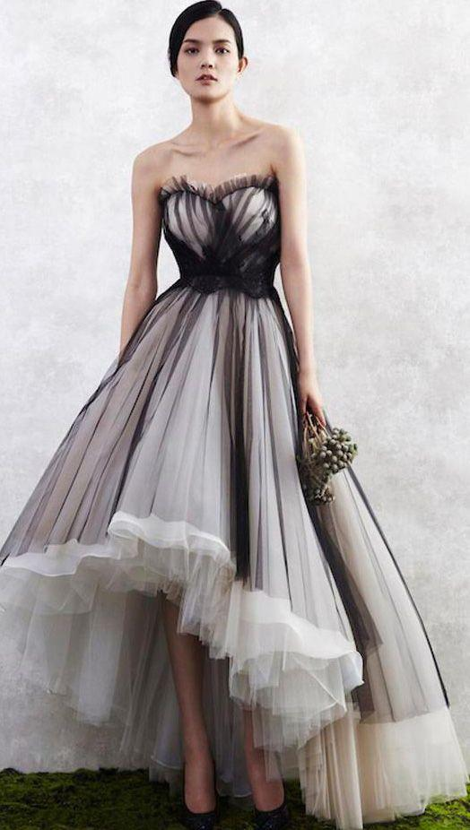 brown party dress strapless evening dress tulle prom dress high low dress