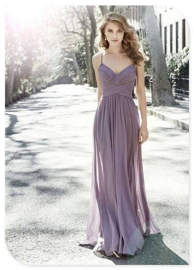 Pleated Long Prom Dresses,Chiffon Maxi Dress, with Spaghetti Straps Evening Dress