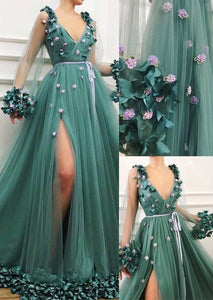 long sleeves prom dress  v-neck evening dress a-line paty dress appliques party dress the new prom dress party dress long dress