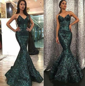 Green Sequin Prom Dress,Sparkly V Neck Prom Dress,Sexy Prom Dress,Custom Made Prom Dress