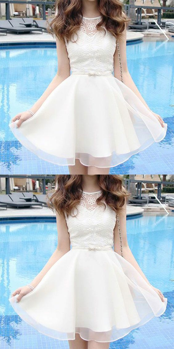 white party dress lace applique evening dress round neck homecoming short dress