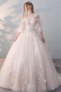 appliques bridal dress o-neck wedding dress appliques wedding dress long tulle wedding dress