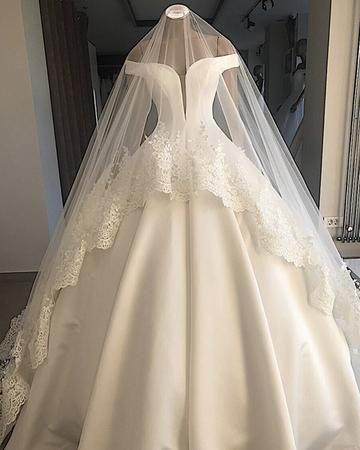 white wedding dress off shoulder wedding dress satin Floor Length wedding dress