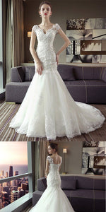 Stunning A-line Tulle Lace Appliques Long Wedding Dresses,Dresses For Wedding Party