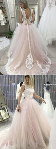 light pink wedding dress lace applique wedding dress tulle backless wedding dress