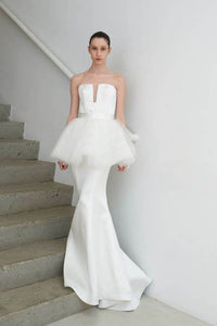 white party dress strapless evening dress mermaid long prom dress Uniquely designed formal dress