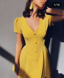 yellow party dress cap sleeve evening dress v neck prom dress button design homecoming dress