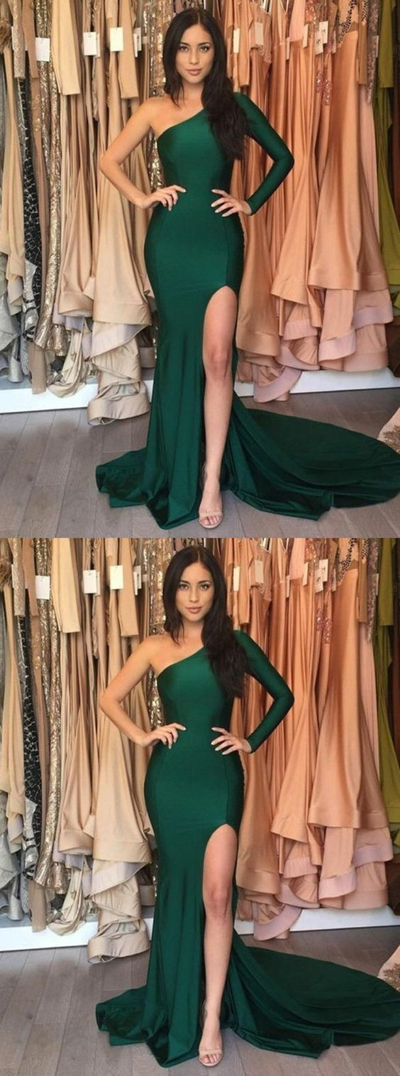 Mermaid One Shoulder Party Dress,Green Prom Dress with Sleeves,Evening Dress With Split