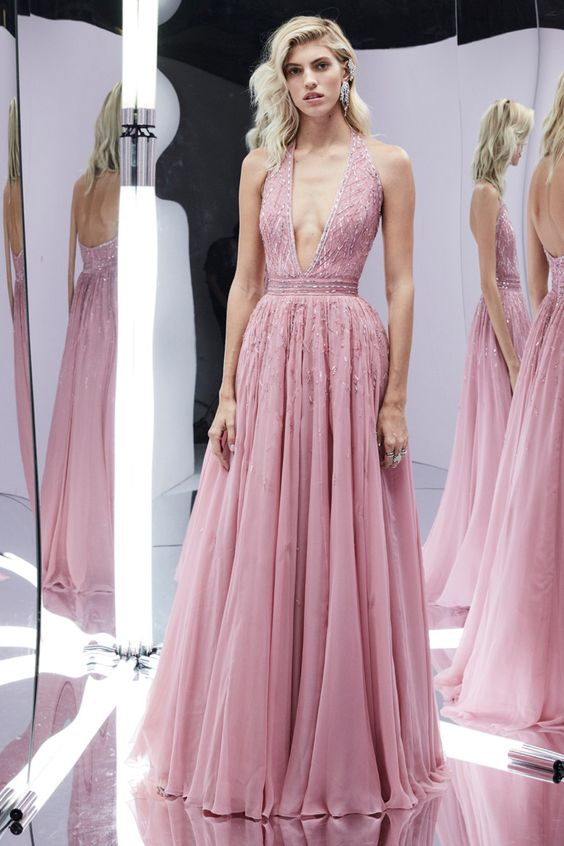 A line prom dress,deep v neck prom dress,evening dress,backless party gown