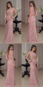 pink lace party dress, modest long evening gowns, mermaid two pieces party dress