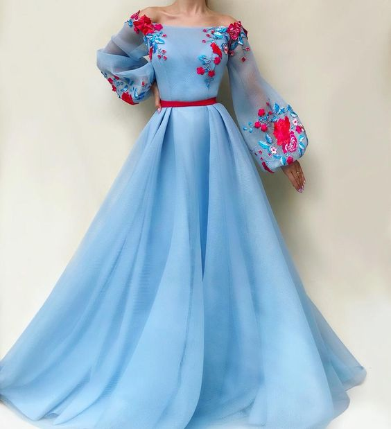 blue party dress long sleeve evening dress tulle applique prom dress off shoulder ball gown