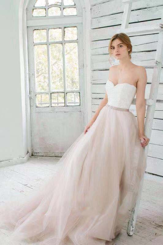Romantic White Lace And Blush Tulle Strapless Sweetheart A Line