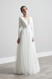 white wedding dress long sleeve  wedding dress tulle wedding dress deep v neck  wedding dress