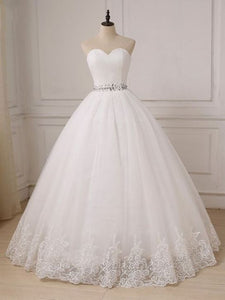 White//Ivory Tulle Lace Applique Ballgown Wedding Dress V Backless Wedding Gown