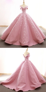 pink party dress off shoulder evening dress  Lace Appliques prom dress satin ball gown