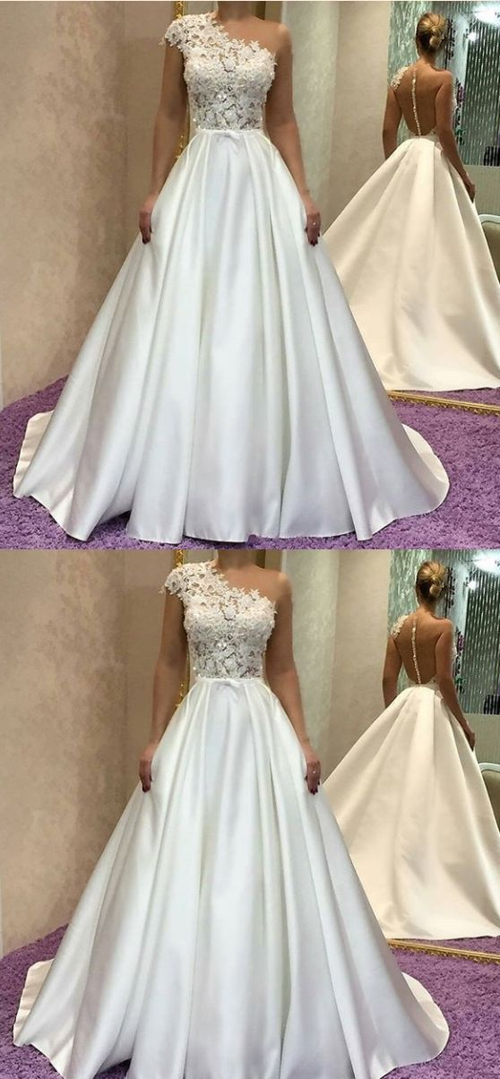 White party dress one shoulder evening dress satin long prom dress lace applique formal dress