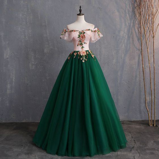 pink and green party dress off shoulder evening dress lace applique prom dress  Backless Floor-Length formal dress