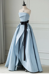 sky blue party dress strapless evening dress Satin prom Dress With Sash formal dress with pleats