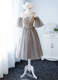Short Tulle Prom Dress Lace Up Homecoming Dress With Sleeve round neck evening dress