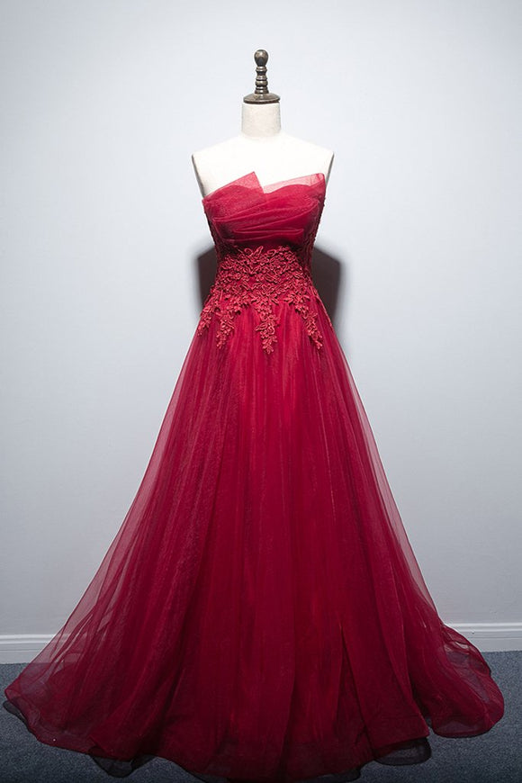 red party dress strapless evening dress tulle long prom dress lace applique formal dress