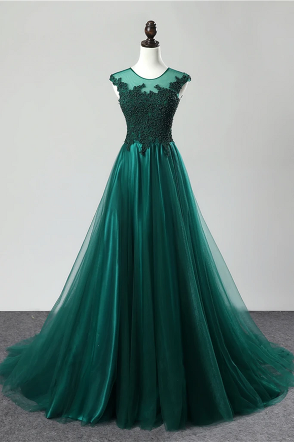 green party dress round neck evening dress tulle long prom dress lace formal dress