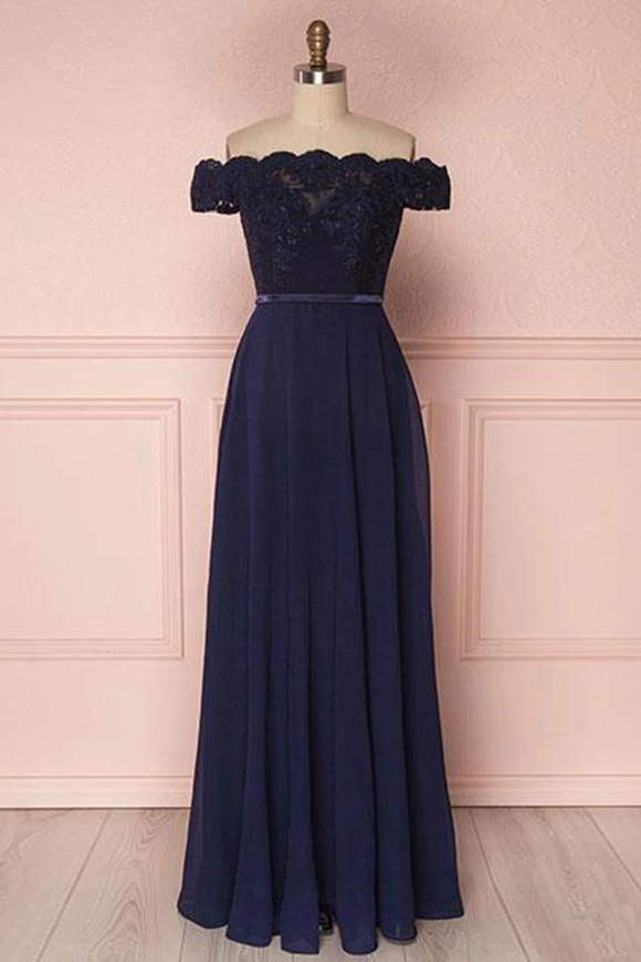 navy blue party dress off shoulder evening dress chiffon long prom dress lace formal dress